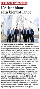 09-12-15 - Midi Libre MONTPELLIER - L'Arbre Blanc sera bientôt lancé